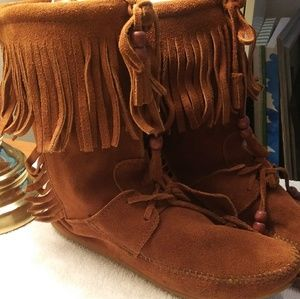 Vintage Minnetonka moccasins boots booties fringe